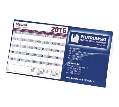 kalendarz biurkowy stojący poziomy typu domek