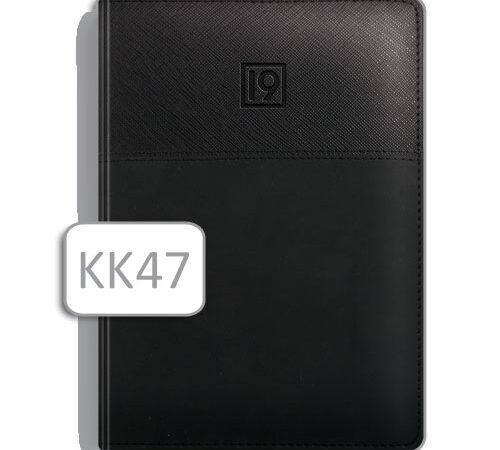 kalendarz w czarnej skórzanej oprawie KK47