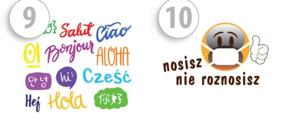 Maseczki ochronne z nadrukiem cześć w rożnych językach/z napisem nosisz nie roznosisz