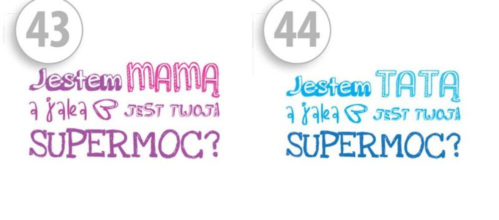 Maseczki ochronne z nadrukiem Jestem MAMĄ a jaka jest twoja SUPERMOC?/Jestem TATĄ a jaka jest twoja SUPERMOC?