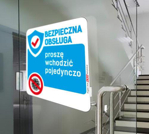 naklejka na drzwi KORONAWIRUS - Punkt przygotowany do obsługi bez kontaktu bezpośredniego