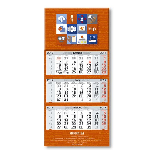Kalendarz trójdzielny Optimum 38 cm