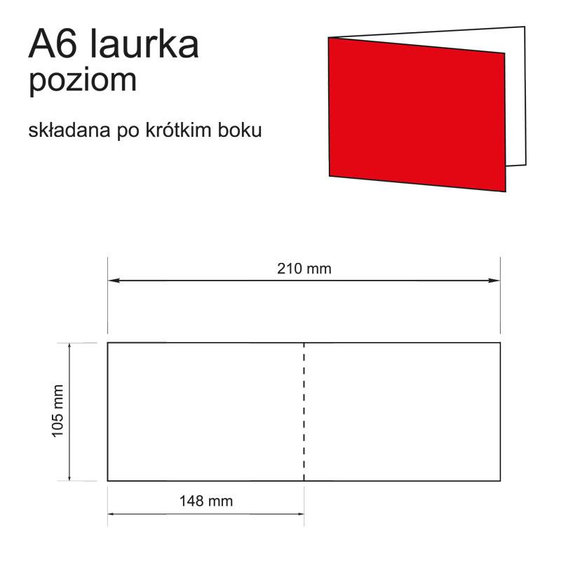 druk zaproszeń A6 laurka poziom składana po krótkim boku