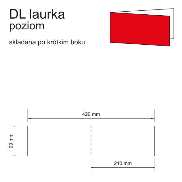 druk zaproszeń DL laurka poziom składana po krótkim boku