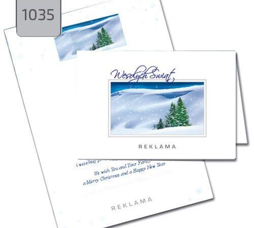 składane kartki świąteczne dla firm z choinką 1035