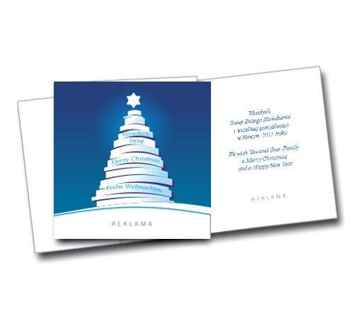 kartka świąteczna Boże Narodzenie 1042 biała choinka na niebieskim tle, kwadrat