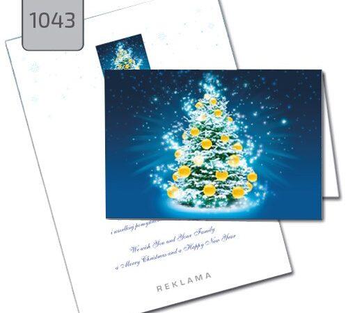 kartka świąteczna z choinką na niebieskim tle 1043