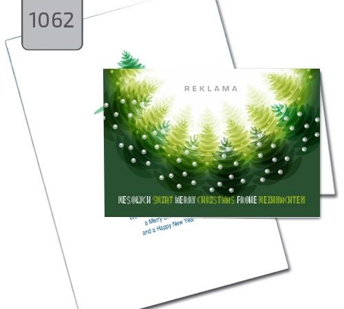 kartka świąteczna Boże Narodzenie zielone choinki 1062