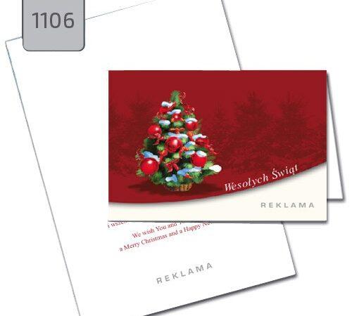 kartka świąteczna z choinką 1106 czerwone tło