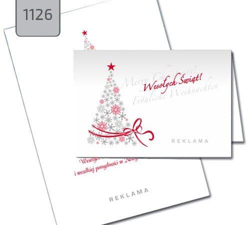 kartka świąteczna z choinką 1126 drukarnia DobryDruk.pl czerwono-szara choinka białe tło