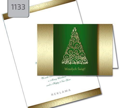 kartka świąteczna dla firmy 1136 złota choinka na zielonym tle