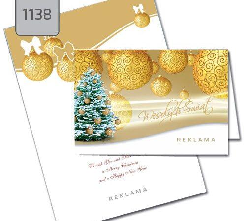 firmowe kartki świąteczne Boże Narodzenie 1138 choinka, złote bombki