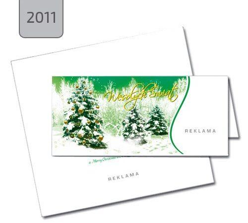kartka świąteczna 2011 choinki zielona drukarnia DobryDruk.pl