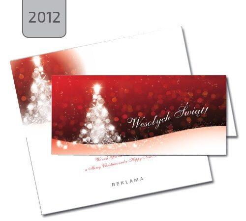 kartka świąteczna 2012 pozioma składana biała choinka na czerwonym tle