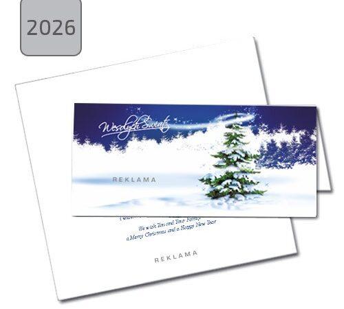 kartka świąteczna firmowa składana 2026 pejzaż zimowy z choinką