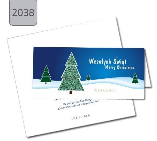 Kartki dla firm na święta Bożego Narodzenia 2038, pozioma z choinkami, składana