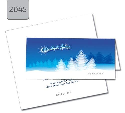 firmowa kartka świąteczna z choinką 2045, składana pozioma