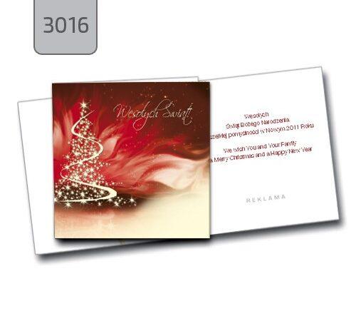 kartka świąteczna składana z życzeniami 3016 choinka drukarnia DobryDruk.pl