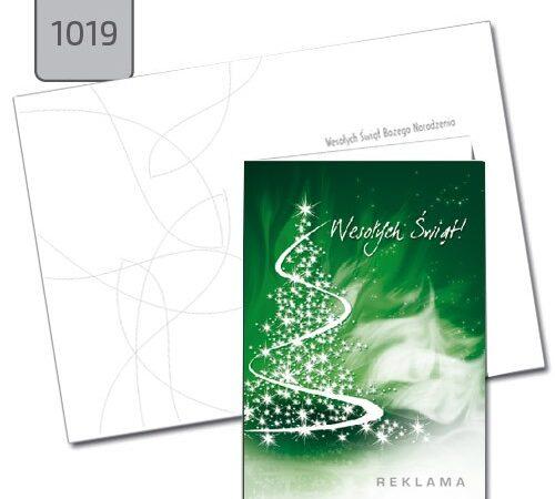 kartki świąteczne z tekstem Boże Narodzenie choinka zielona A6 1019