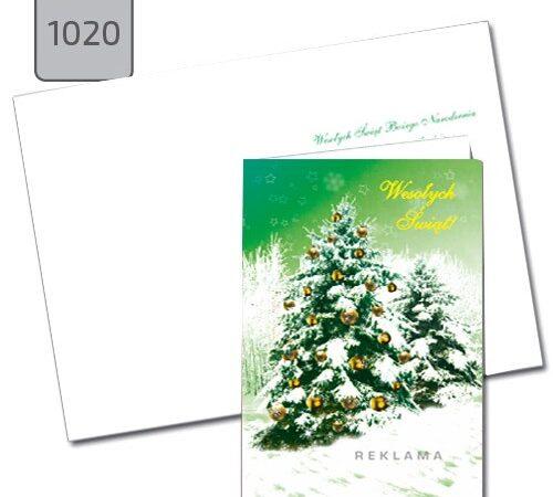 kartka świąteczna A6 zielona choinka 1020