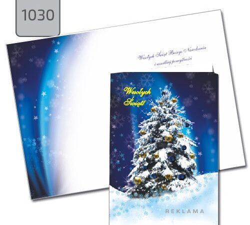 kartka świąteczna z choinką bożonarodzeniowa A6 niebieska 1030