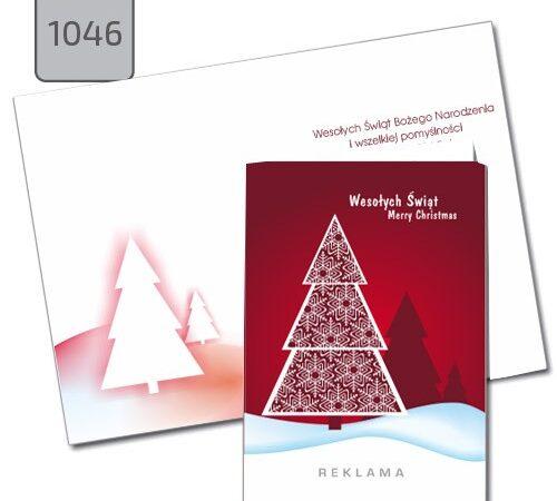 firmowe kartki świąteczne Boże narodzenie choinka czerwona A6 1046