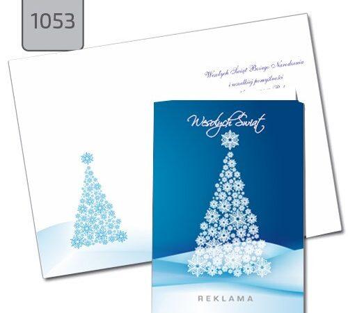 kartka świąteczna z choinką niebieska A6 1053 drukarnia DobryDruk.pl