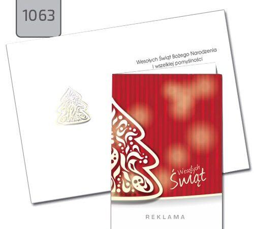firmowa kartka świąteczna Boże Narodzenie choinka czerwona A6 1063