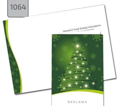 kartka świąteczna z choinką A6 zielona 1064