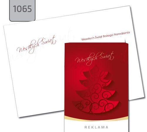 firmowe kartki świąteczne z choinką A6 czerwone 1065