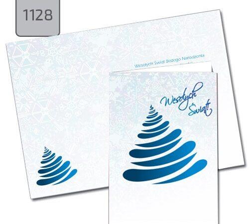 niebieska choinka błękitne tło - kartka świąteczna 1128 format A6 składana pionowa