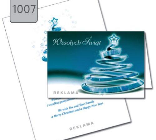 kartka świąteczna z choinką 1007 składana pozioma niebieska DobryDruk.pl