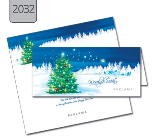 firmowa kartka świąteczna z choinką 2032 składana pozioma