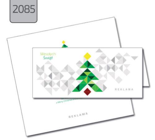 firmowa kartka świąteczna 2085 zielona choinka, białe tło, kartka składana pozioma