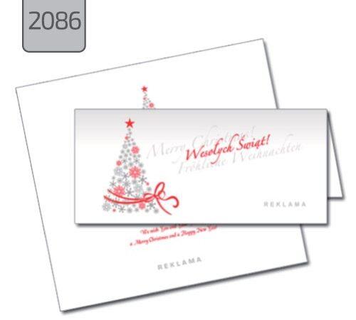 kartka świąteczna firmowa z choinką 2086, szaro czerwona składana pozioma