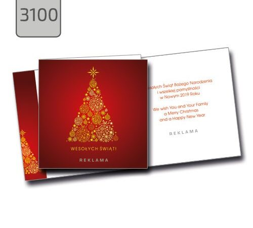 złota choinka na czerwonym tle - kartka świąteczna z życzeniami 3100