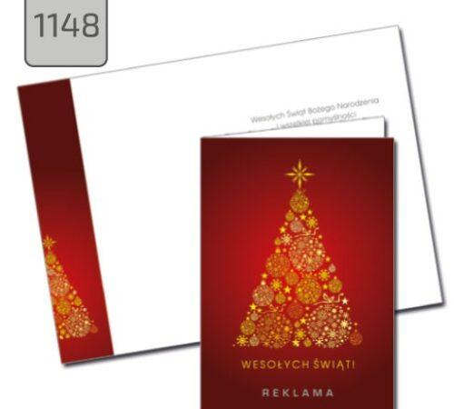 firmowa kartka świąteczna 1148 format A6 pionowa składana złota choinka czerwone tło