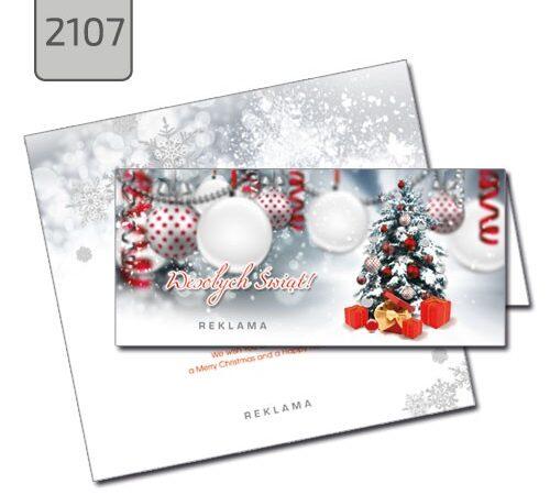 firmowa kartka świąteczna format DL Boże Narodzenie choinka bombki 2107