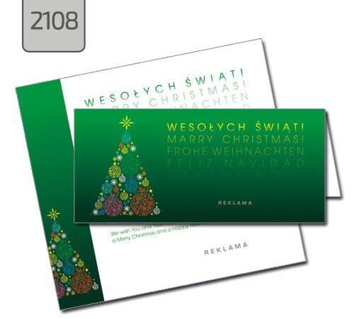 kartka świąteczna składana DL pozioma 2108 zielona