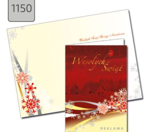 kartka firmowa na święta pejzaż czerwona 1150