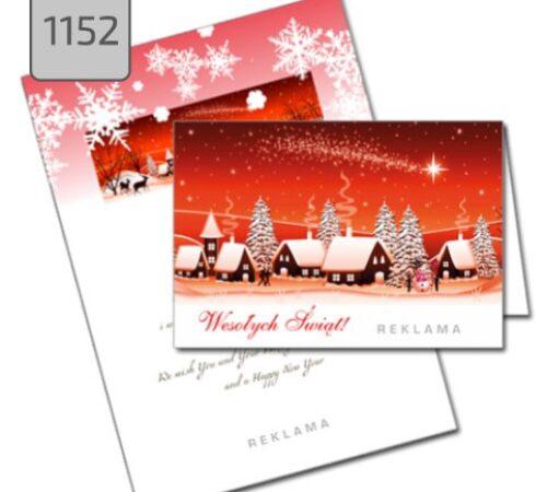 kartka świąteczna 1152 pejzaż zimowy czerwona