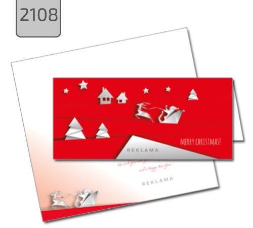 kartka firmowa świąteczna składana pozioma 2109 czerwona