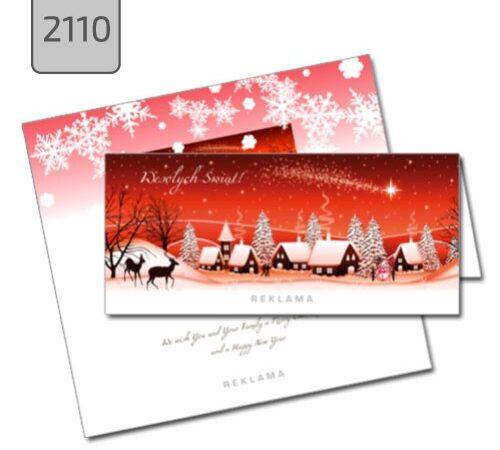 kartki świąteczne z nadrukiem 2110 pejzaż czerwone