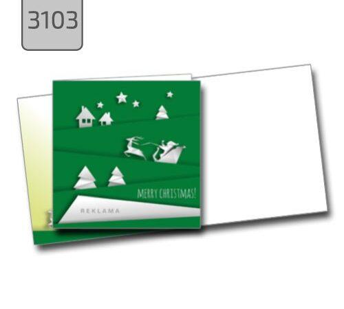 kartka świąteczna 3103 zielona składana kwadrat