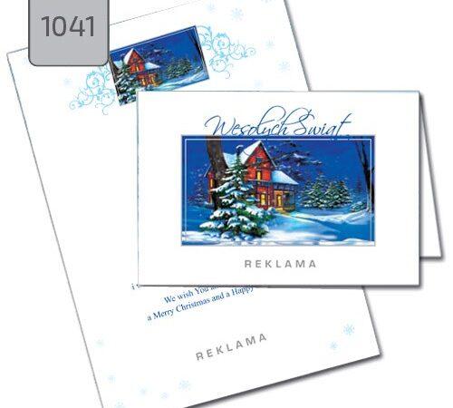 kartki świąteczne dla firm 1041 pejzaż zimowy