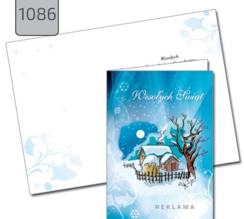 kartka świąteczna z pejzażem zimowym 1086 składana niebieska