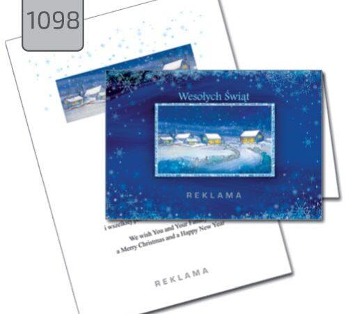 kartka świąteczna z nadrukiem dla firm 1098 pejzaż zimowy niebieska
