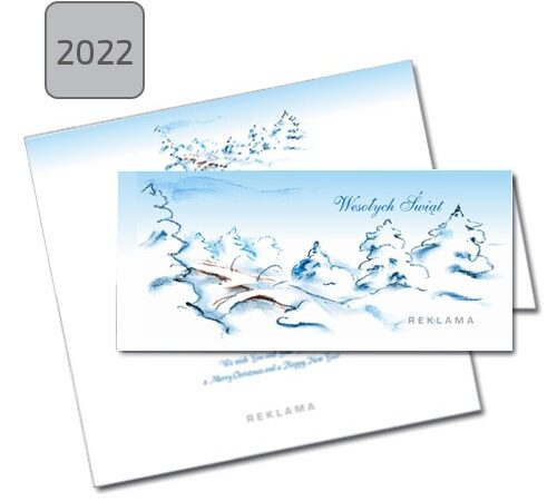 kartka świąteczna składana 2022 śnieg choinki