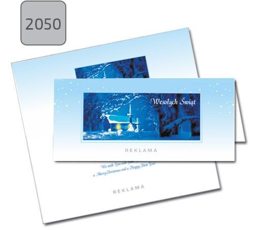 kartka świąteczna dla firm pozioma składana 2050 pejzaż zimowy