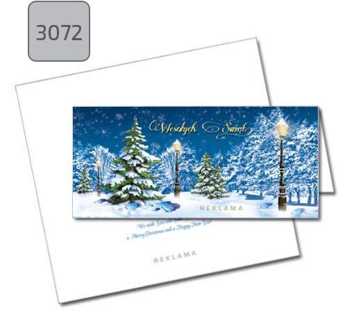 kartka firmowa świąteczna składana 2072 pejzaż zimowy